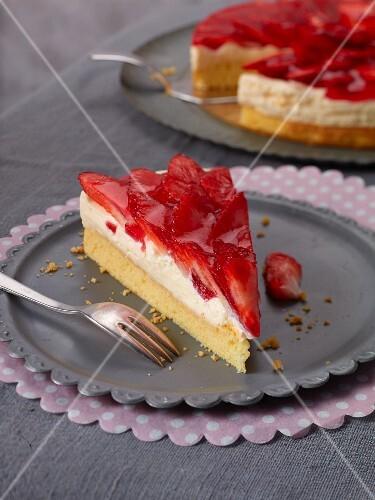 Strawberry flan with vanilla crème