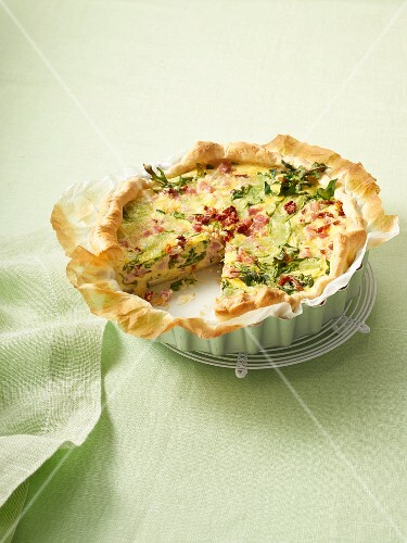 Ham, rocket and goat's cheese quiche