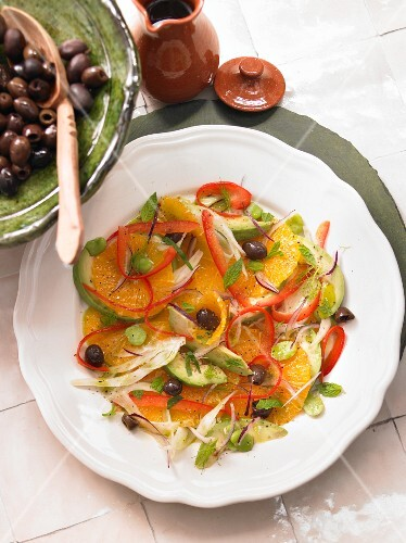 Orange salad with olives