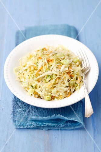 Cabbage salad with cucumber, carrots and dill
