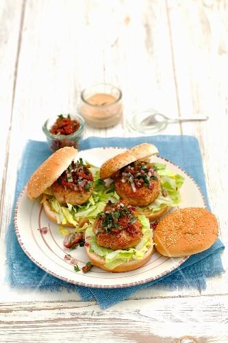 Pork burgers with tomato salsa
