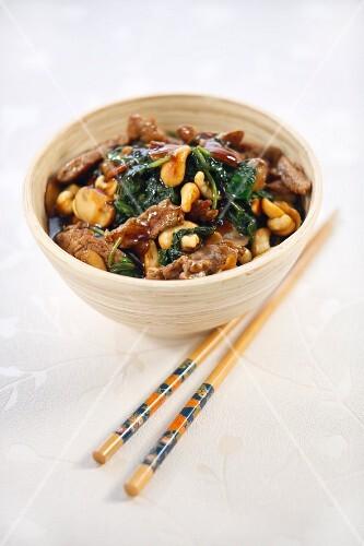 Teriyaki beef with spinach