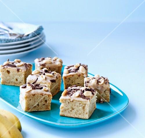 Banana cake with peanut butter glaze