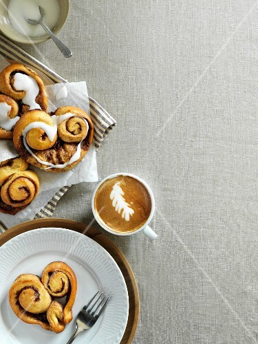 Cinnamon buns and a cappuccino