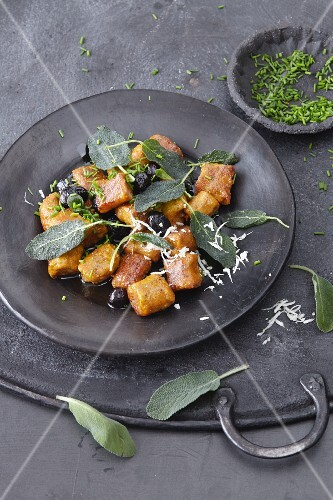 Vegan pumpkin gnocchi with chia seeds and sage