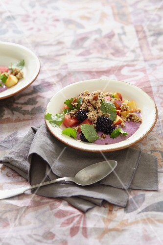Summer fruits with soya yoghurt and crunchy granola