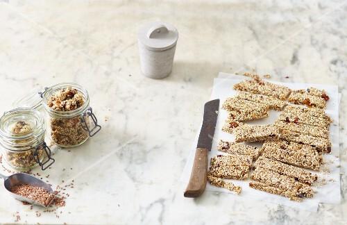 Vegan snacks: muesli bars and granola crunch