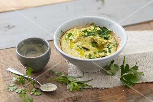 Red lentil cream with tahini and herbs (vegan)
