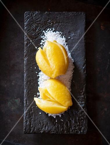 Salted lemons with lemon balm