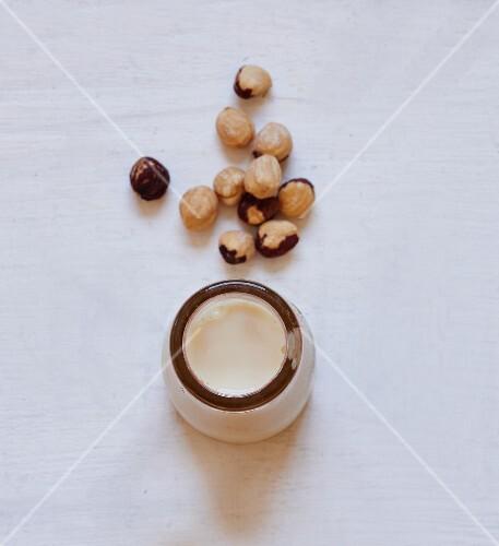 Hazelnuts and a bottle of hazelnut milk