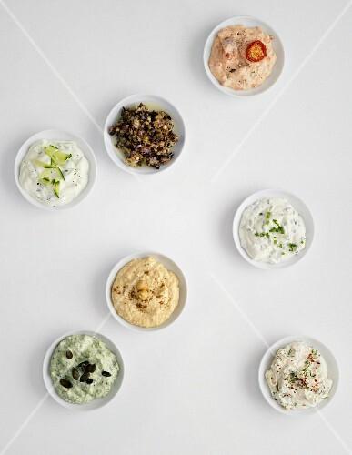 Bowls of various vegetarian dips