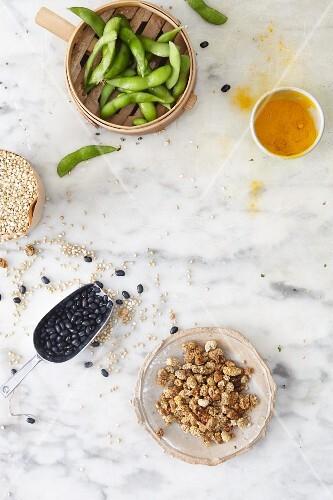 An arrangement of super foods featuring legumes