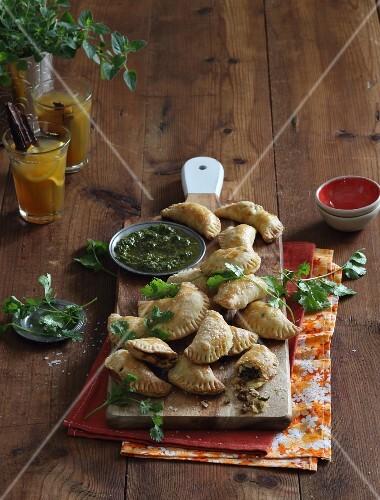 Empanadas with chimi-churri sauce