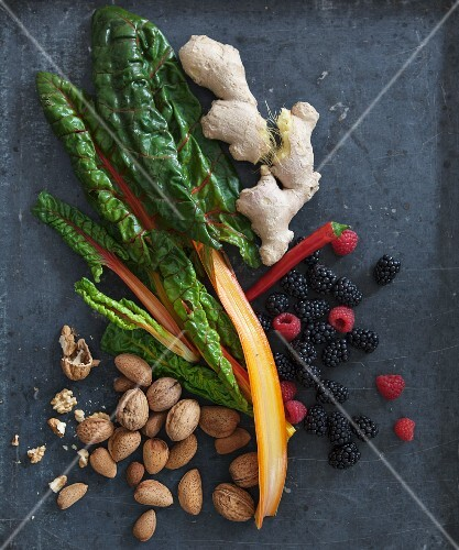 Super foods: chard, chilli peppers, ginger, blackberries, raspberries, walnuts and almonds