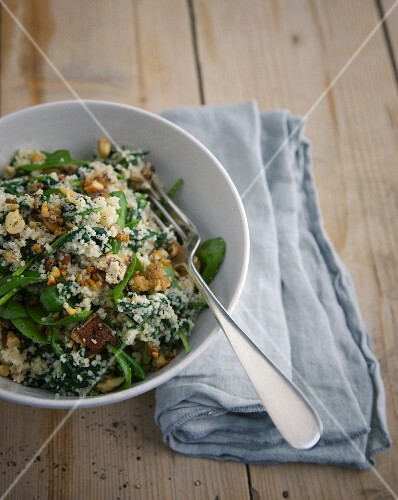 Oriental couscous with cashew nuts and basil