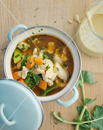 Spring vegetable soup with Parmesan noodles