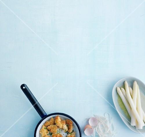 White asparagus with herb shredded pancakes