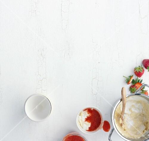 Polenta yoghurt cream with strawberries