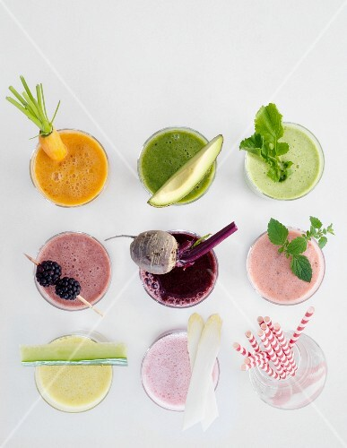 Colourful smoothies