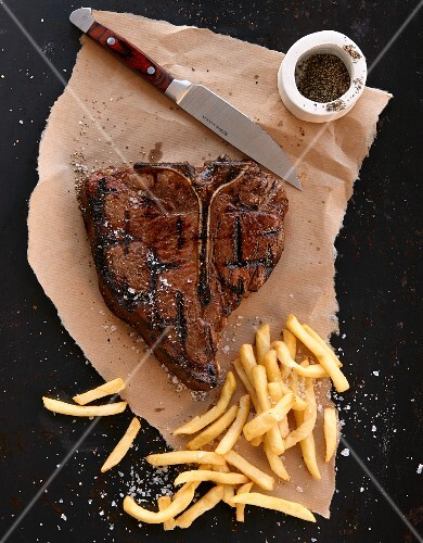 Porterhouse steak with fries