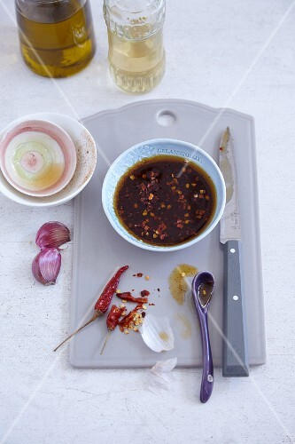 Homemade tomato and fig sauce with chilli