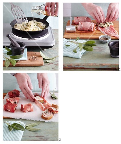 Saltimbocca lollies with pears being made