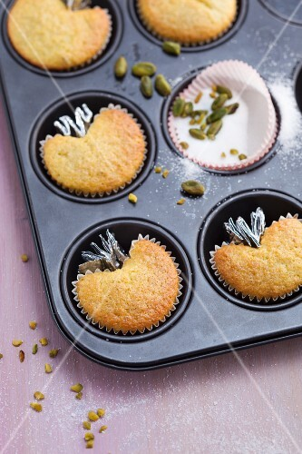 Heart-shaped muffins baked in paper cases