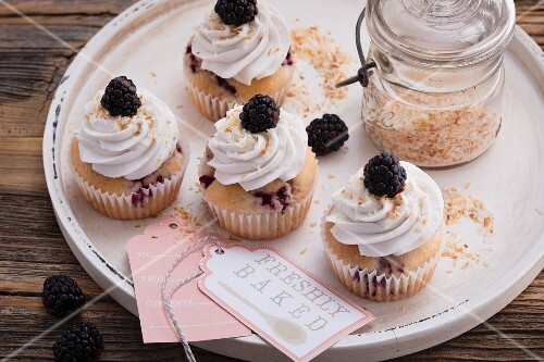 Blackberry and coconut cupcakes with soya cream frosting