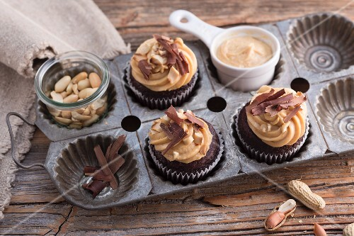 Vegan chocolate soya cupcakes with a peanut topping