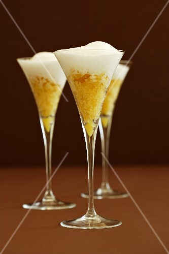 Pineapple and ginger granita with warm coconut foam