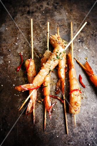 King prawn skewers in a chilli and ginger marinade