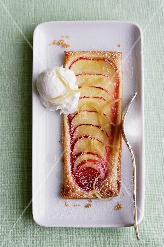 Apple tart with ginger ice cream
