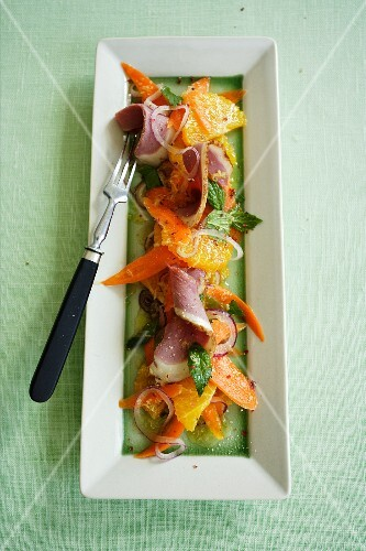 Orange and carrot salad with smoked duck breast and a ginger vinaigrette