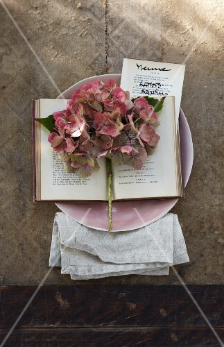 An autumnal menu decorated with hydrangeas