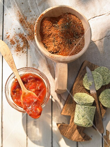 Barbecue sauce, grilling spices and herb butter
