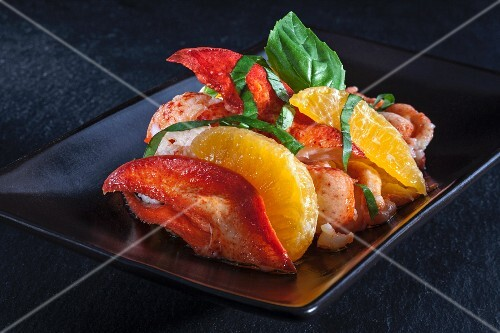 Lobster with oranges and basil