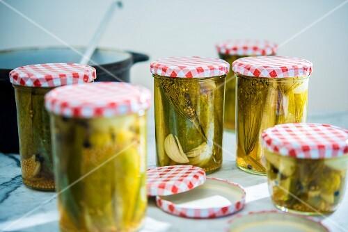 Jars of gherkins
