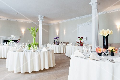 Tables Festively Set For Wedding In Room With White Columns Buy