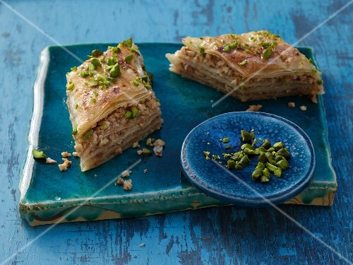 Baklava (filo pastry slices with nuts in syrup)