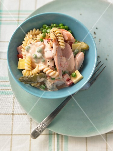 Pasta salad with sausage and cheese