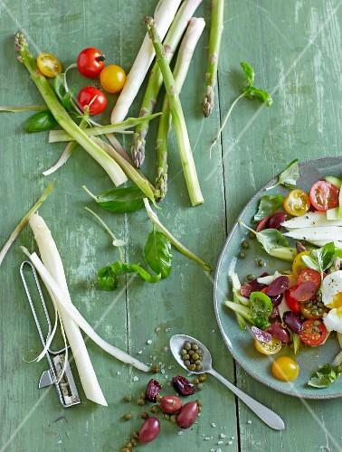 Fresh vegetable salad and raw vegetables
