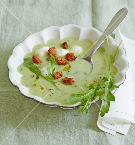 Romanesco and potato soup with buffalo mozzarella and croutons