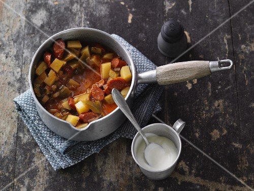 Burgenland potato goulash with debrecener sausage