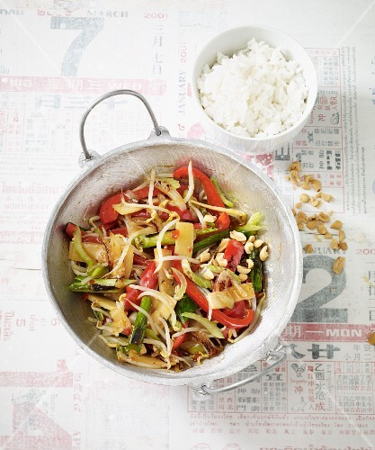 Stir-fried vegan chop suey with colourful vegetables