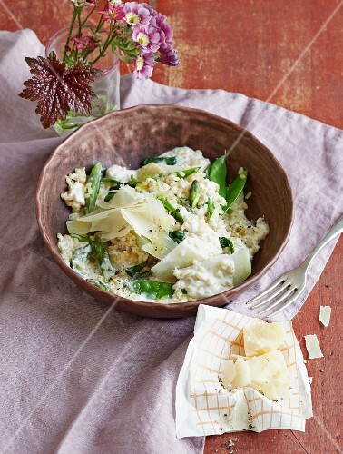 Risotto with spring vegetables and Parmesan cheese