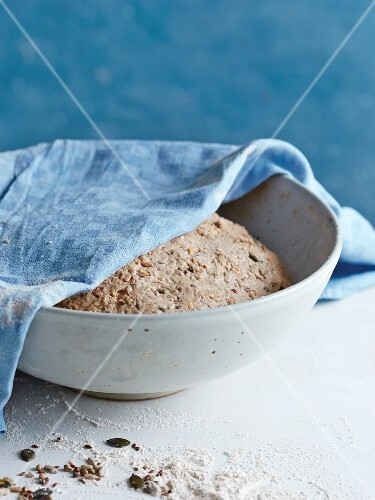 Spelt and wholemeal bread being made: dough being left to rise