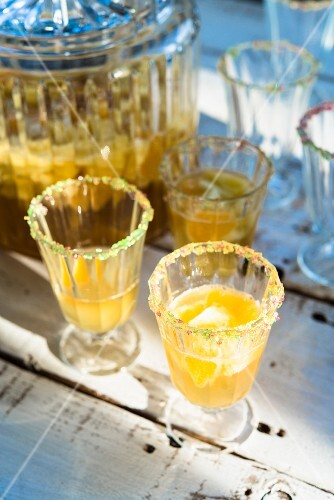 Summer punch with pineapple and oranges