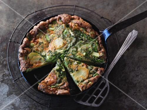 Vegetarian potato and asparagus tortilla