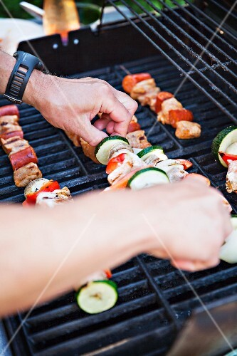 Kebabs on a barbecue
