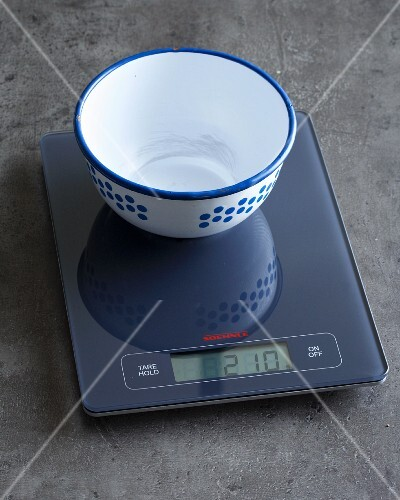 A pair of digital kitchen scales